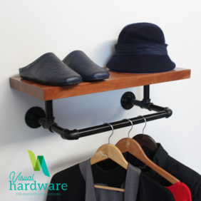 Industrial Pipe Bracket with Clothes Rail - Three Sizes
